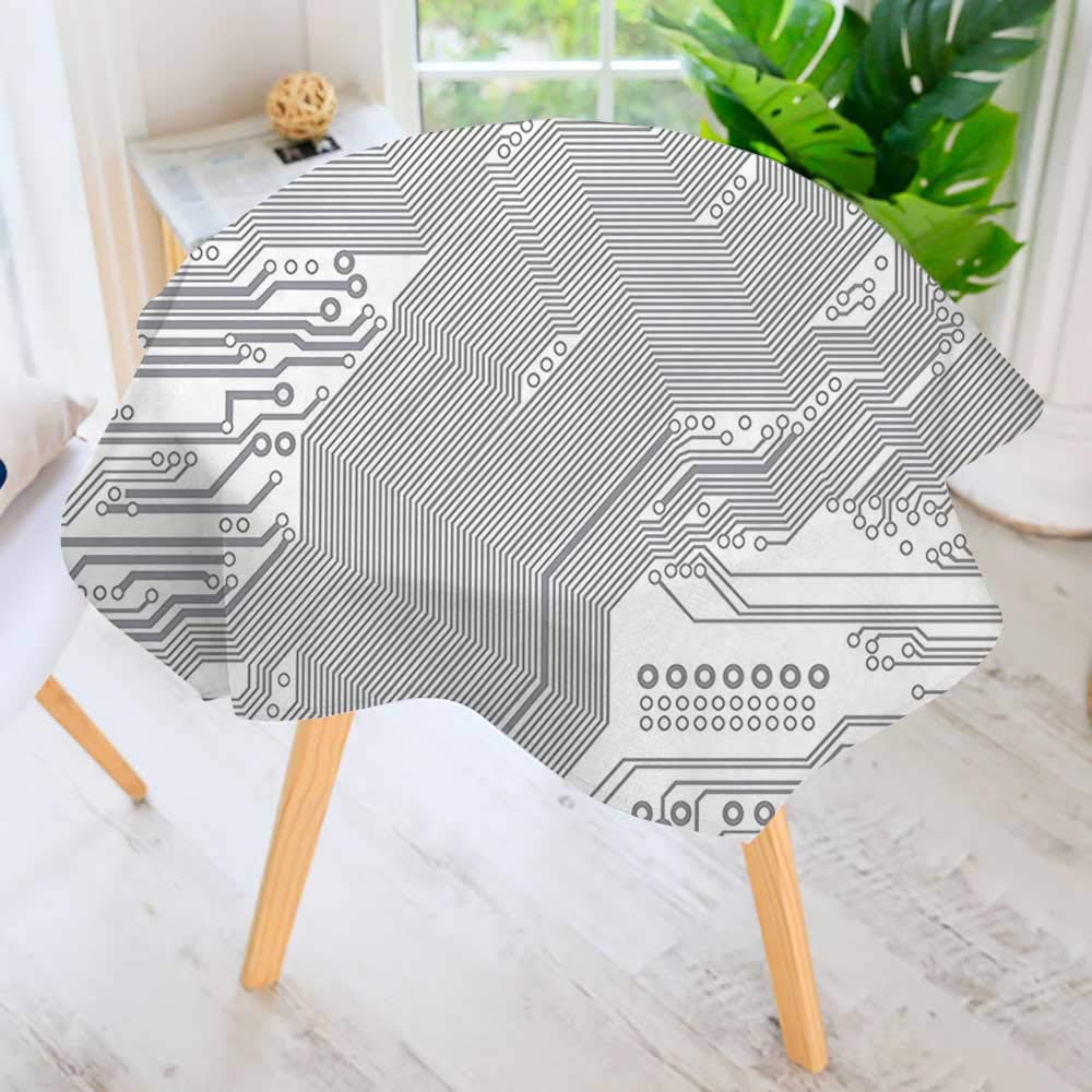 "UHOO2018 Circular Solid Polyester Tablecloth-Motherboard Electronic Hardware Technical Display Futuristic Plan Design Grey White for Wedding Restaurant Buffet Table Decoration 63"" Round"