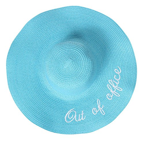Out of Office Floppy Hat Sunny Embroidered Large Straw Sun Hat, Aqua