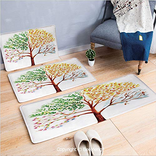 3 Piece Indoor Modern Anti-skid carpet Printed block bathroom carpet,Watercolor,Tree with Changing Seasons Effect on Its Crown Nature Ecology Foliage Theme Decorative,Multicolor,20x31/20x59/28x55 inch
