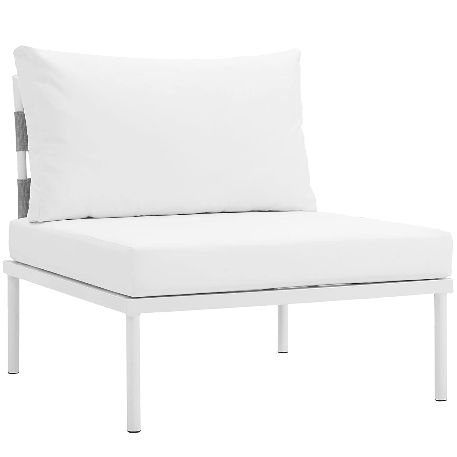 Amazon com modway harmony outdoor patio armless chair in white white modern sectional furniture series options chair loveseat corner ottoman