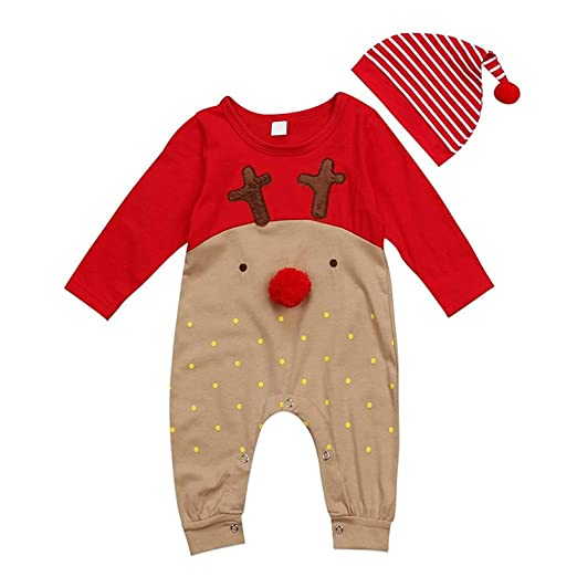 63fb9d25277 Newborn Baby Boys Girls Christmas Long Sleeve Cute Red Nose Cartoon  Reindeer Pajama Jumpsuit Stripe Hat