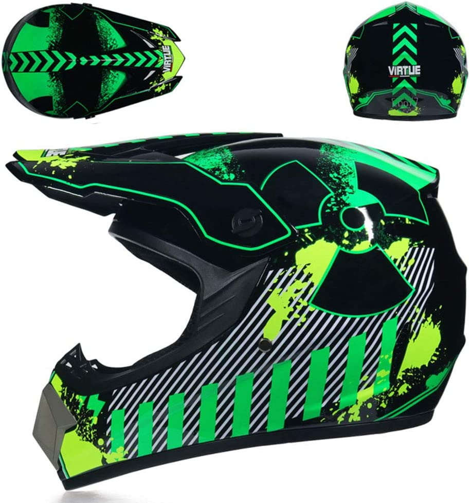 S, M, L, XL Adult Motocross Helmet MX Motorcycle Helm ATV Scooter ATV Helm D.O.T Certified Multicolor mit Goggles Gloves Mask