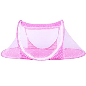 CHRISLZ Ultra Thin Summer Mosquito Net for Children,Portable Folding Baby Travel Bed Crib Baby Cots Newborn Foldable Crib (Pink-Thin)
