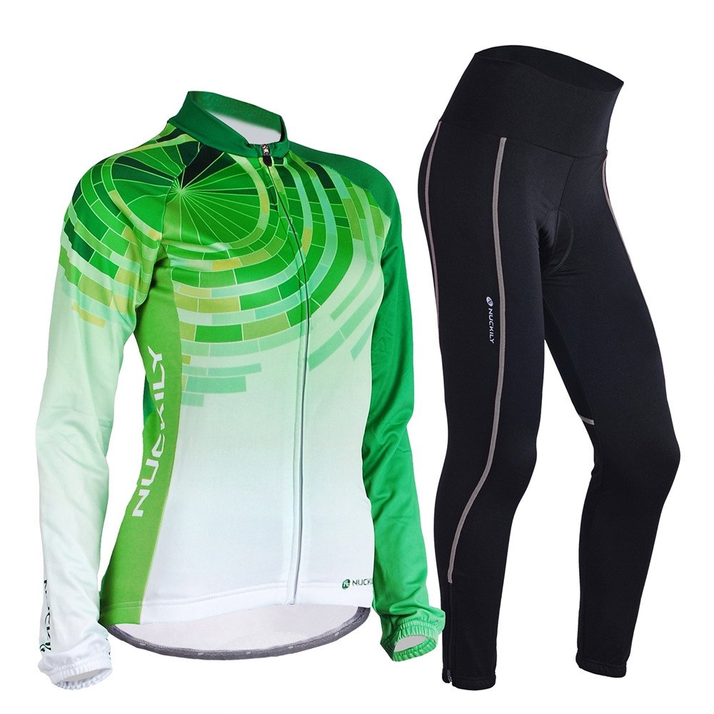 NUCKILY Women Bike Jersey Suit Thermal Fleece Long Cycling Shirts And Tights LTD