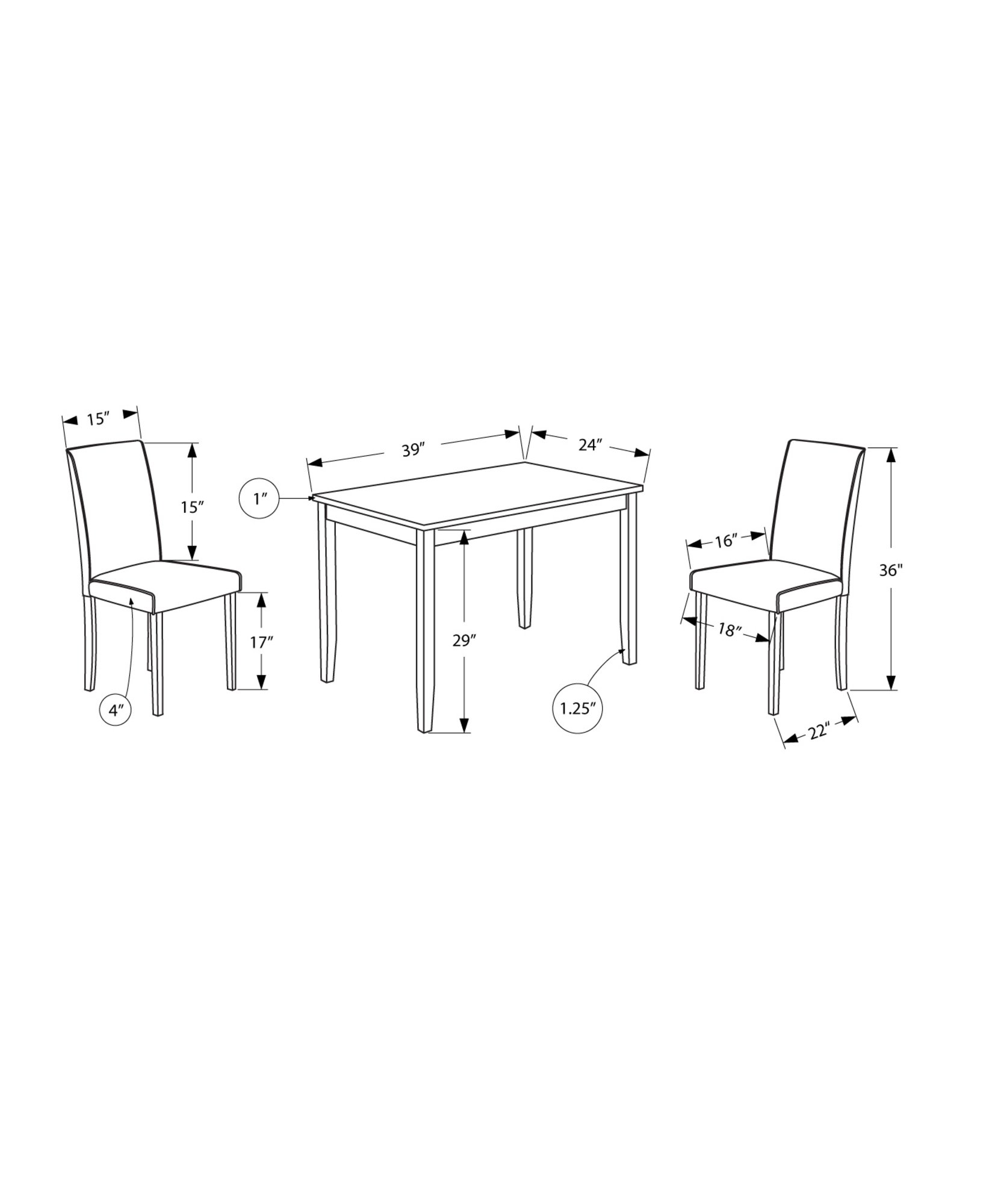 Monarch Specialties I 1016, Dining Set Set, Parson Chairs, Black/Grey, 3pcs by Monarch Specialties (Image #3)