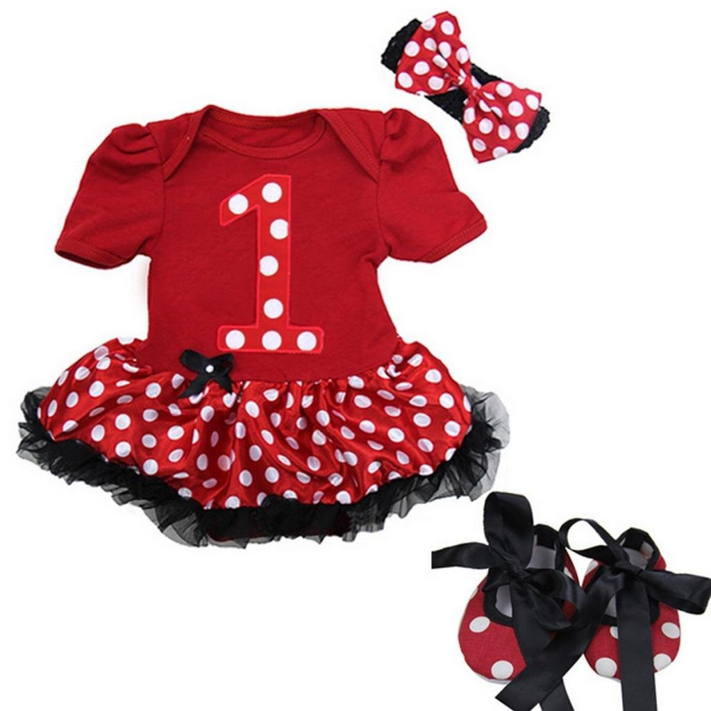 Baby Xmas Red Black Polka Dots Number 1 Bodysuit Tutu Party Dress