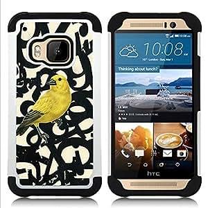 """Pulsar ( Bird Letras Números texto Beige"""" ) HTC One M9 /M9s / One Hima híbrida Heavy Duty Impact pesado deber de protección a los choques caso Carcasa de parachoques [Ne"""