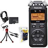 Tascam Portable Digital Recorder (DR-05) w/Bundle + Xit AA Charger (100-240v) w/ 4 2950mah AA Batteries + Flexible Mini Table-top Tripod + Technical Pro Closed-Back Headphones