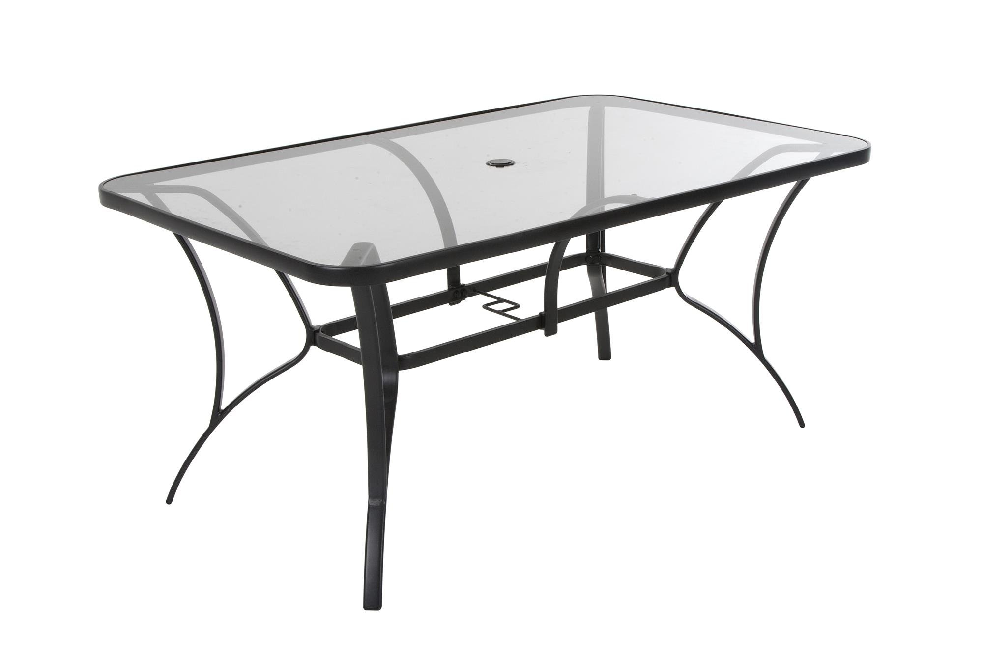 COSCO Outdoor Living Paloma Steel Patio Dining Table, Dark Gray Steel Frame, Tempered Glass Table Top