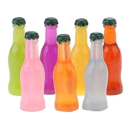 Baoblaze 7pcs Escala 1:12 Miniatura Botellas de Cóctel de Plástico Accesorios para Casa de