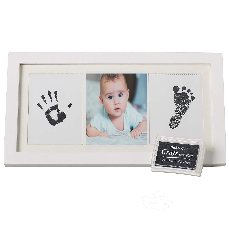美しい赤ちゃんの手と足跡のフォトフレームキット、Babyprintsペーパー&インクパッドベビーシャワーギフトのために思い出に残る   B07518WJLG