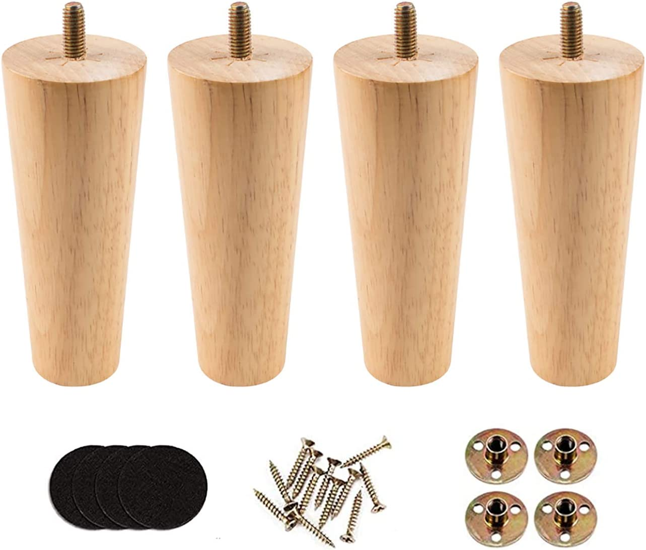 """5"""" Wooden Furniture Legs Round Tapered Replacement Sofa Legs,Set of 4,Couch Chest of Cabinet House(Natural Color)"""