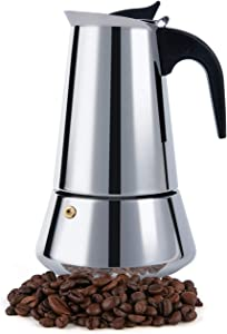 Stovetop Espresso Maker, Moka Pot, 2 Cup Percolator Italian Coffee Maker, Classic Cafe Maker, Stainless Steel, Suitable For Induction Cookers (Silver, 2 Cup)
