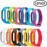 Veryfit Replacement Bands, 12 Pcs Ip67 Bands Replacement TPE Flexible Colorful Gadget Replacement Band For For Xiaomi Mi 2