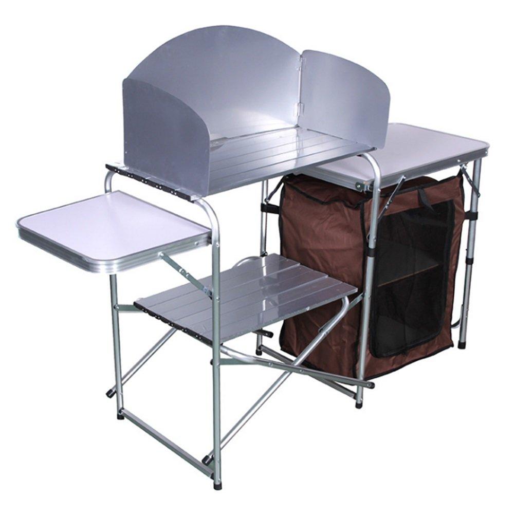 アルミ合金折りたたみテーブル屋外キャンプ用品ダブルストレージラックドライビングツアーモバイルキッチン B07C7Q6DP4