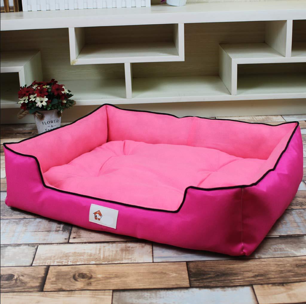 Powder 7065cmPet nest, removable and washable PP cotton four seasons universal cat dog mattress, 4 colors   4 sizes