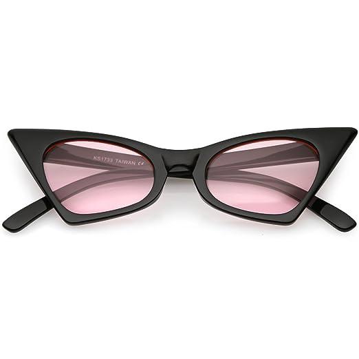 7a8362e055 sunglassLA - Retro Small High Pointed Cat Eye Sunglasses Tinted Colored  Oval Lens 46mm (Black