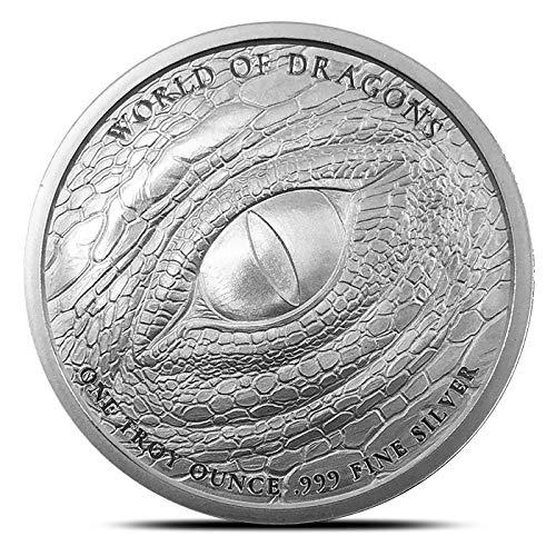 The Aztec World of Dragons Series 1 oz 999 Silver Round Quetzalcoatl Snake