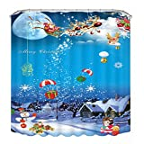 Elevin(TM) 3D Christmas Style Fashion Waterproof Polyester Fabric Kids Adults Bathroom Shower Curtain Decor with 12 Hooks (150cm x 180cm, H-1)