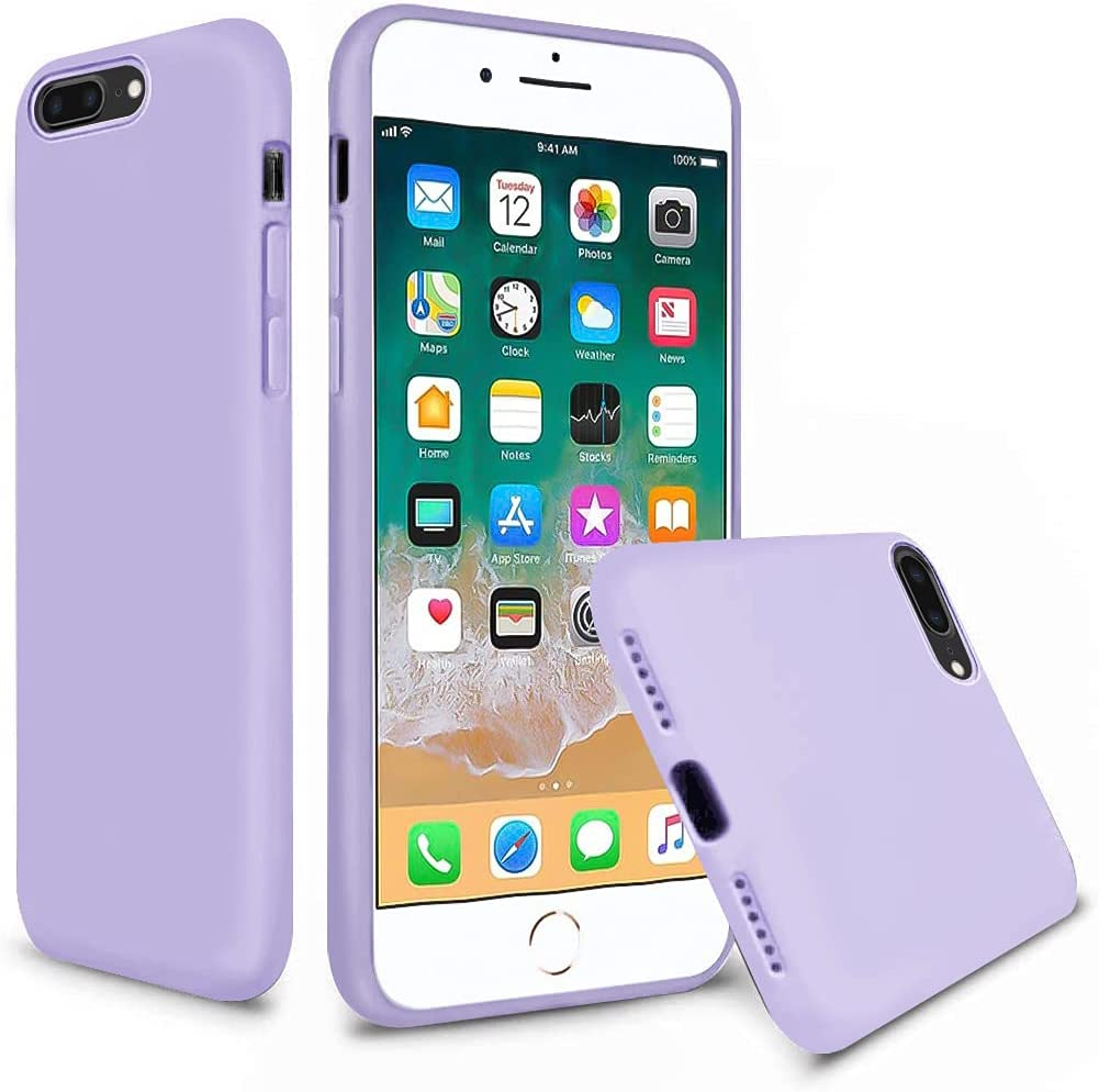 Vooii iPhone 8 Plus Case, iPhone 7 Plus Case, Soft Silicone Gel Rubber Bumper Case Microfiber Lining Hard Shell Shockproof Full-Body Protective Case Cover for iPhone 7 Plus /8 Plus - Light Purple