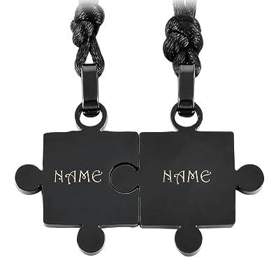 f85d054de4 MeMeDIY Black Stainless Steel Pendant Necklace Jigsaw Puzzle Couples Set, 2  Piece with Customized Engraving