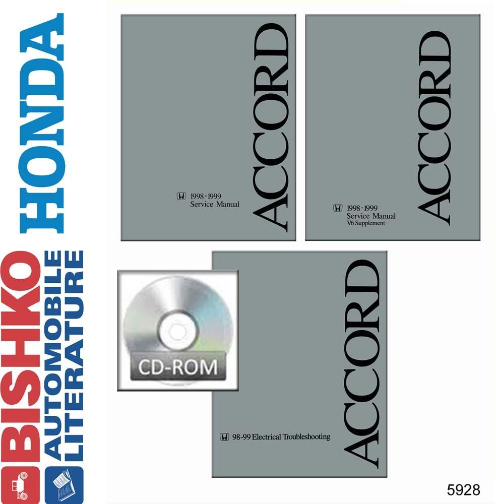 1998 1999 honda accord service shop repair workshop manual set w.