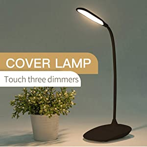 Adjustable LED Desk Lamp Rechargable Desk Lamp with USB Charging Port Battery(1200mAh),Flexible Style-Black