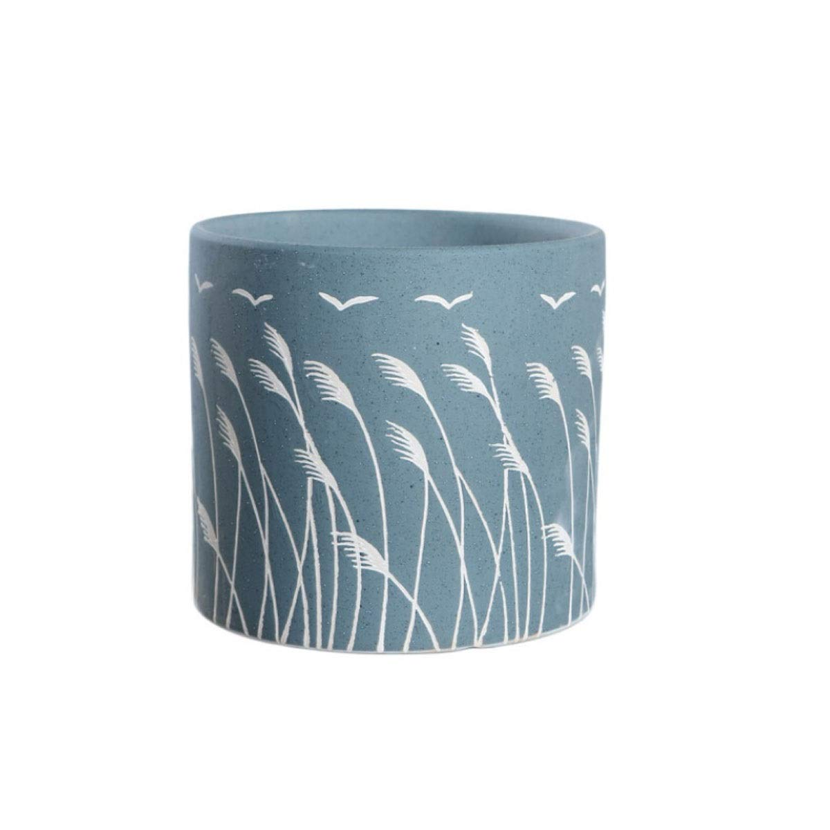 HUIJUNWENTI Ceramic Flower Pot, Fleshy Flower Pot, Ceramic Large Creative Potted Flower Pot, Nordic Style Cylindrical Breathable Office Household Pot Ceramic (Color : Light Blue, Size : Small) by HUIJUNWENTI
