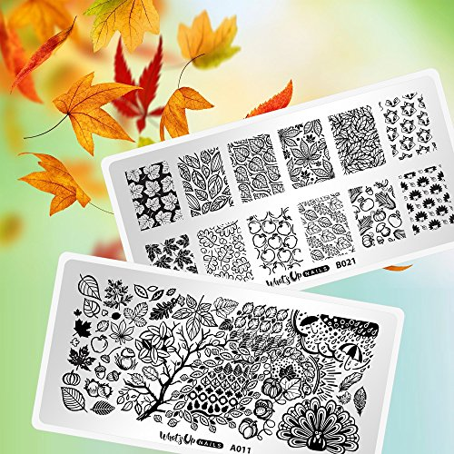Whats Up Nails - Fall Stamping Plates 2 pack (A011, B021) for Autumn Thanksgiving Day Nail Art Design (Outline Leaf Fall)