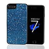 iPhone 6 6S 7 8 case, W&Armor Glitter Sparkle Bling Casewith Dual Layer Structure(Hard PC Back Outer + Soft TPU Inner)ShiningFashionDesign forApple 4.7'' iPhone 8/7/6/6s(Magic Blue)