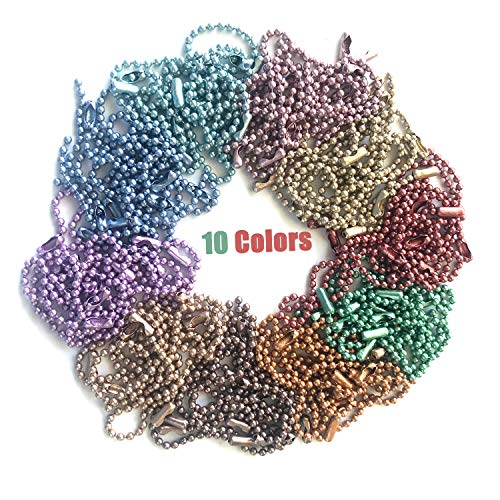 Rojwei 100pcs Mix Colors Metal Ball Chain Keychains,Christmas DIY Tag ID Chain 10cm Long, 2.4 mm Diameter Bead Size, Complete with a Bead Chain Connector.