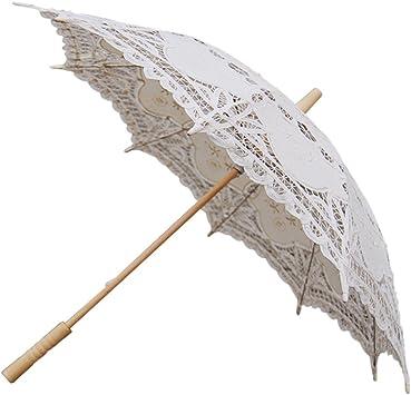 Hecho a Mano de Encaje de la Boda Nupcial sombrilla Paraguas de algodón Decoracion (Beige): Amazon.es: Equipaje