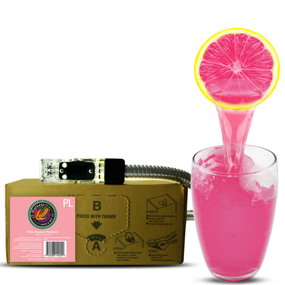 Bar Beverages Parisian Parasol Craft Pink Lemonade (3 Gallon Bag-in-Box Syrup Concentrate) - Box Pours 18 Gallons of Pink Lemonade - Use with Bar Gun, Soda Fountain or SodaStream by O Harvest