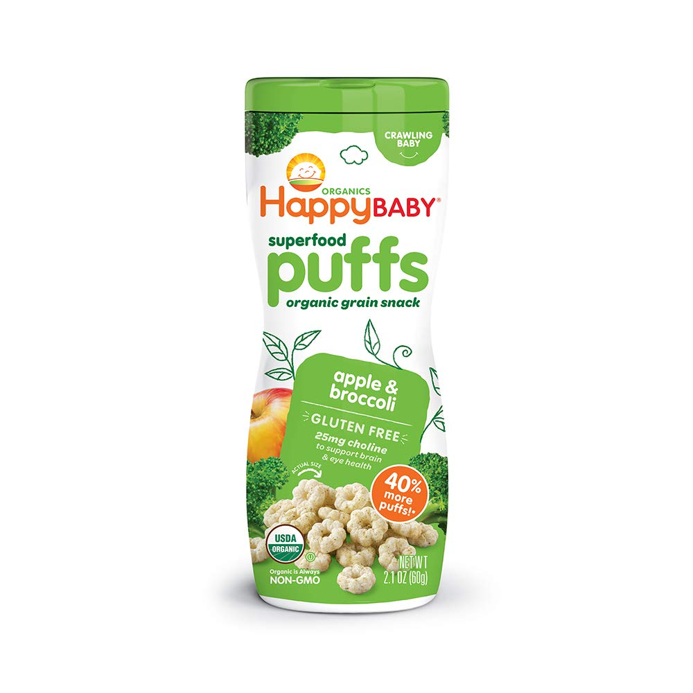 Happy Baby Organic Superfood Puffs Apple & Broccoli, 2.1 Ounce Canister (Pack of 6) (Packaging May Vary)
