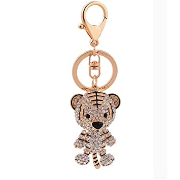 Bolbove Cute Tiger Sparkling Charm Blingbling Keychain Crystal Rhinestone Pendant