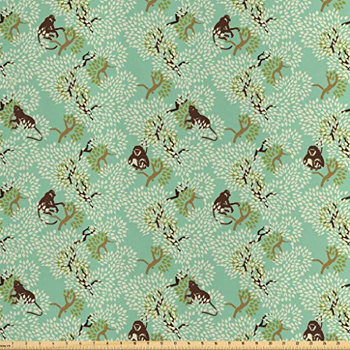 Lunarable Nature Fabric by The Yard, Jungle Motif with Monkeys and Trees in Soft Tones Forest Illustration, Decorative Satin Fabric for Home Textiles and Crafts, 2 Yards, Mint Cream Caramel Brown