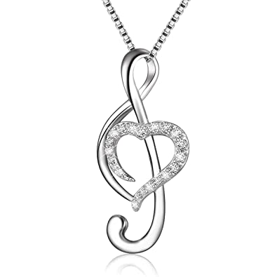 Apotie 925 Sterling Silver Jewelry Music Musical Note Love Heart Pendant Necklaces Rose Gold Plated For Women Chain 18 NQPOB6d