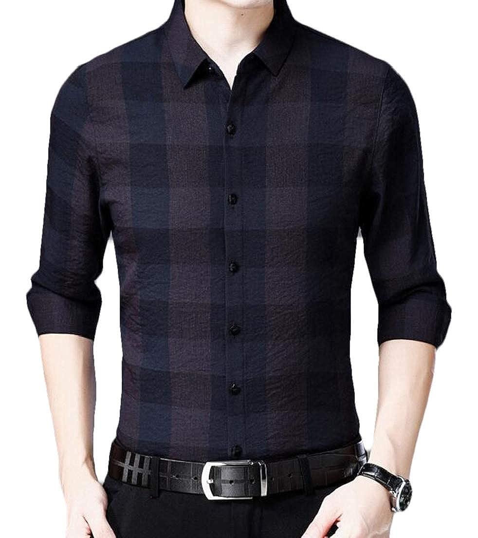 CRYYU Men Junior Spring Stylish Checkered Long Sleeve Button up Dress Shirts