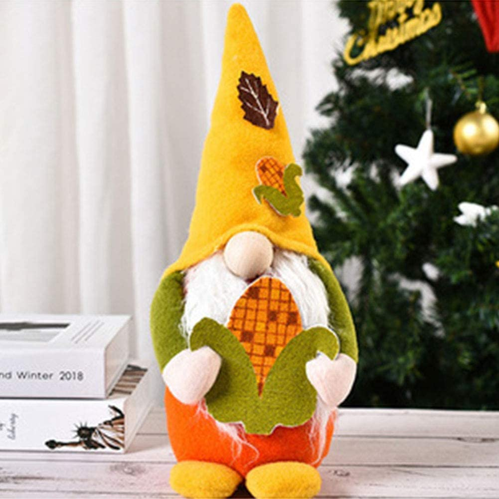 Fall Gnome Plush Autumn Gnome Swedish Tomte Elf Christmas Thanksgiving Day Gift Home Fall Decor (Corn)