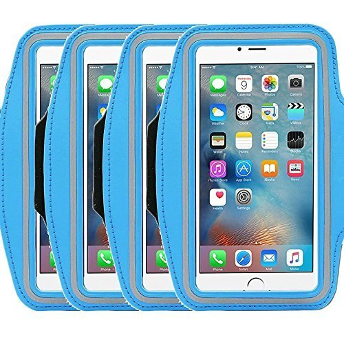 (4Pack Universal Sports Armband for 5.7 Inch Screen Apple iPhone 6/6s iPhone 6/6s Plus Samsung Galaxy S7/S6/S5/S4 Sweatproof Running ArmBelt With Small Holder & Pouch for Keys)