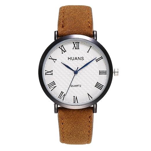 Kinlene Relojes baratos,Reloj de hombre casual Reloj de acero inoxidable Correa de cuero (Café): Amazon.es: Relojes