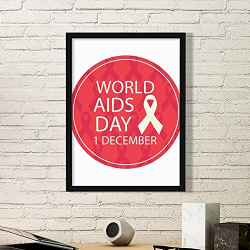 DIYthinker Solidarity Symbol 1st December World AIDS Day Red Ribbon HIV Awareness Simple Picture Frame Art Prints of Paintings Home Wall Decal