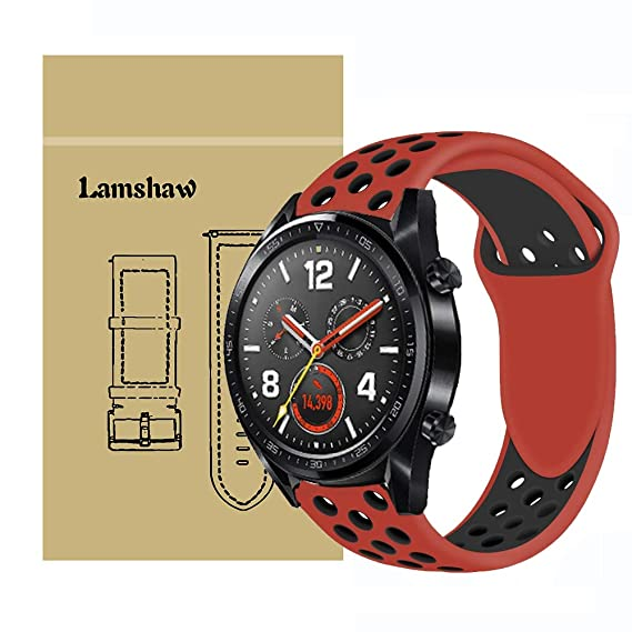 for Huawei Watch GT Band, Lamshaw Silicone Sport Band with Ventilation Holes Replacement Straps for Huawei Watch GT Watch (Red & Black)