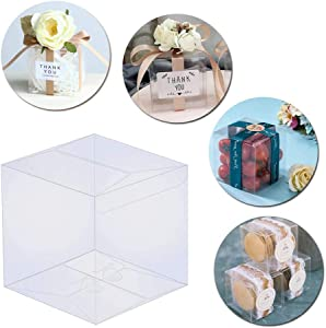 "Thalia 30 Pcs PET Clear Box Transparent Boxes Candy Box Clear Gift Boxes for Wedding Party and Baby Shower Favors 4"" L x 4"" W x 4"" H"