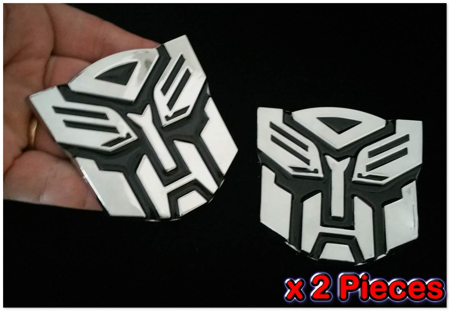 SKU# 5262#87 2 Pcs Transformer Autobot Emblem Chrome Metal Badge Trunk Auto Fender Side Door Car Adhesive 3D Die Cast Zinc Alloy