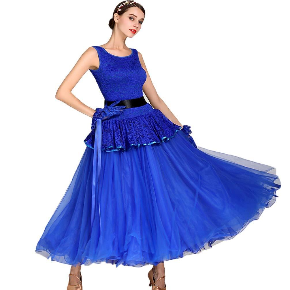 ROYALblueE L Ballroom Dance Dresses for Women Modern Waltz Performance Dance Costume Sleeveless Lace Foxtred Competition Dresses Great Swing