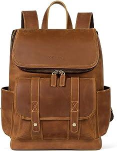 BOSTANTEN Leather Backpack 15.6 inch Laptop Backpack Vintage Travel Office Bag Large Capacity School Shoulder Bag Brown