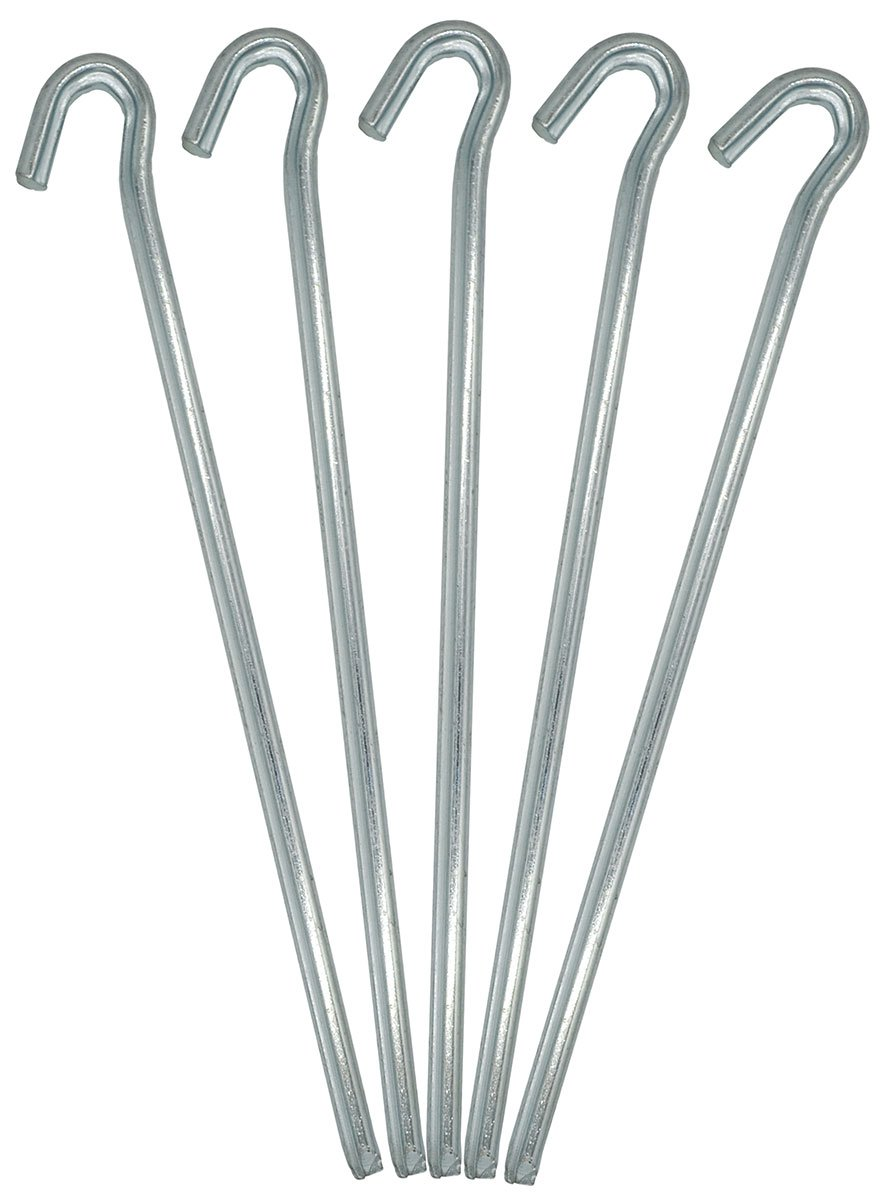 AMANKA Set 10pcs Tent Pegs 250x4mm galvanized steel zinc plated lightweight Stakes with hook for camping tents silver