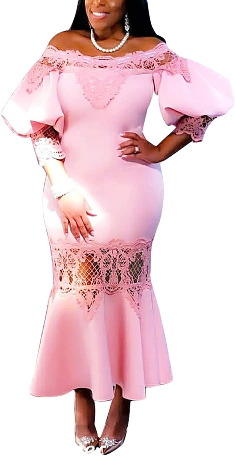 Womens Lace Maxi Dress Short Sleeves Skirt Mermaid Gown
