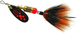 product image for Mepps Black Fury in-Line Spinner, 1/8 oz, Dressed Treble Hook, Fluorescent Red Dot Blade with Gray & Orange Tail